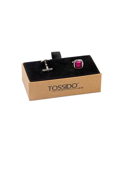 Tossido Magenta Embellished Square Cufflinks