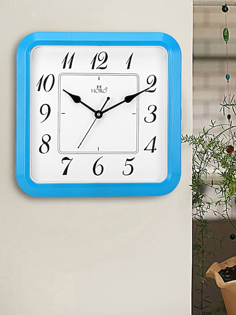 Horo White Hand-Painted Square Solid Analogue Wall Clock (30.48 cm x 30.48 cm)