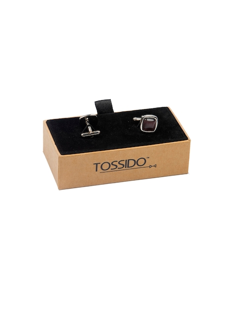 Tossido Brown Embellished Square Cufflinks