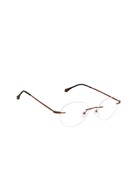 David Blake Unisex Bronze-Toned Solid Rimless Oval Frames EWDB1707