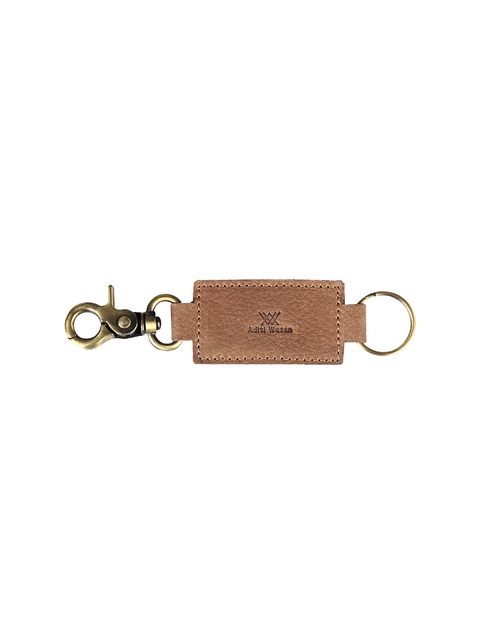 Aditi Wasan Unisex Beige Solid Genuine Leather Key Chain