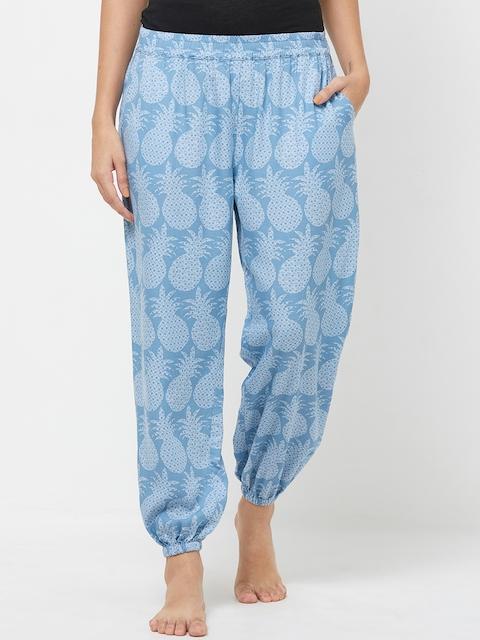 Mystere Paris Women Blue Printed Lounge Pants G392B