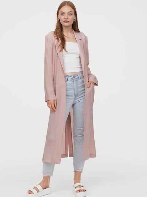 H&M Women Pink Solid Coat