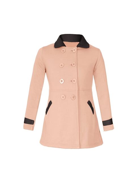 naughty ninos Girls Peach-Coloured Solid Pea Coat
