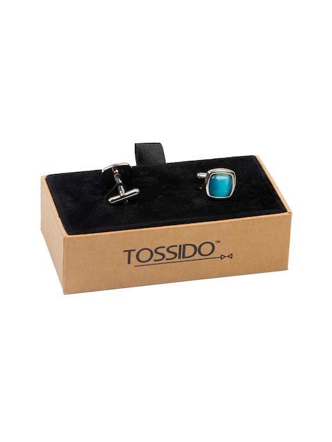 Tossido Blue Embellished Square Cufflinks
