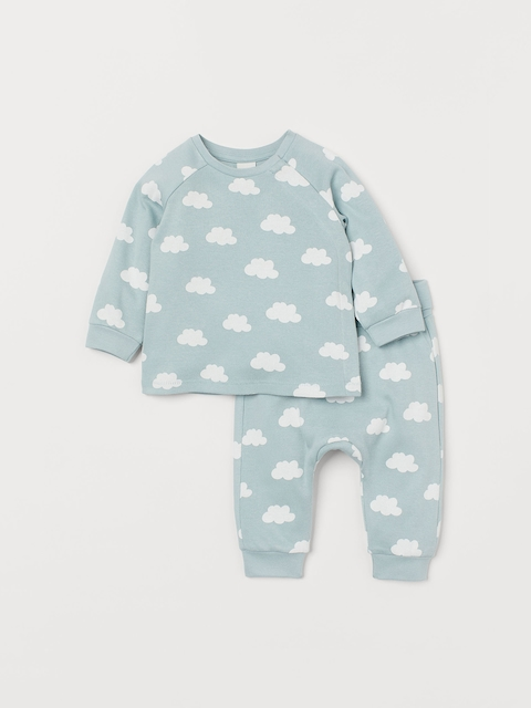 H&M Kids Turquoise Blue Printed Top and Trousers