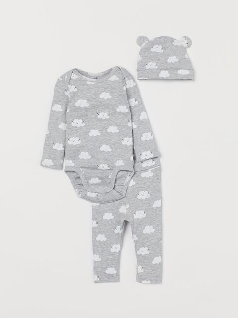 H&M Kids Grey Printed 3-Piece Cotton Jersey Set