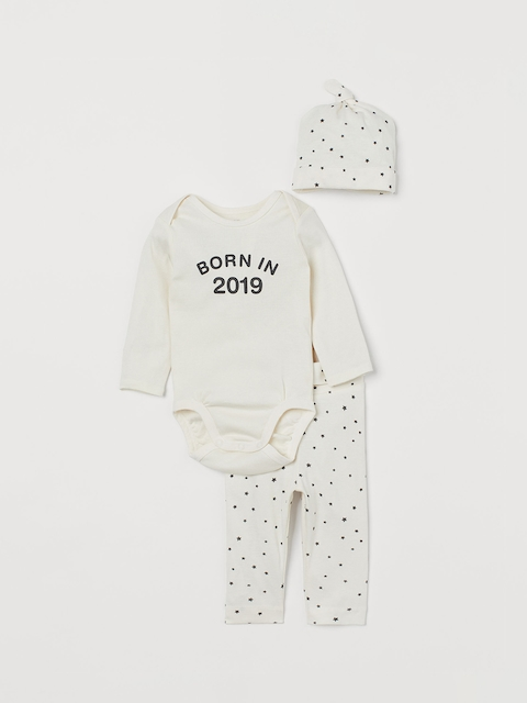 H&M Kids White Printed 3-Piece Cotton Jersey Set