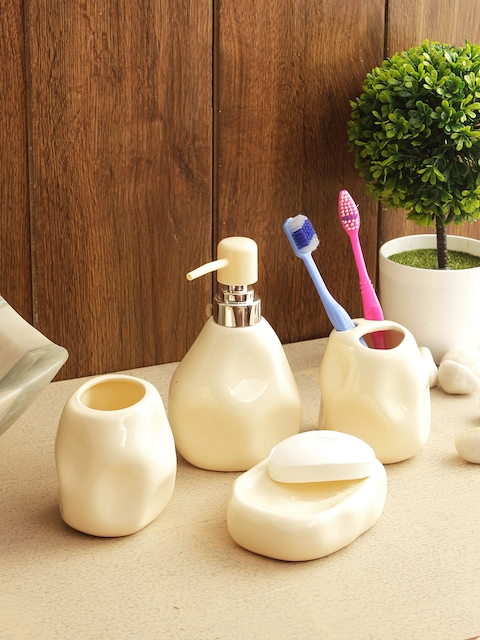 House of Accessories Set of 4 Cream-Coloured Solid Bathroom Accessories