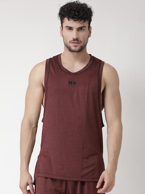 USI UNIVERSAL Men Maroon Solid Gym Vests BBAPLUU137684