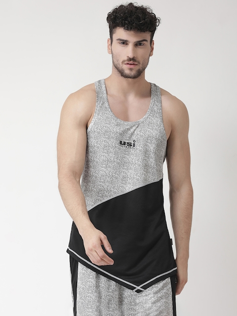 USI UNIVERSAL Men Grey & Black Colourblocked Gym Vests BBAPLUU137668