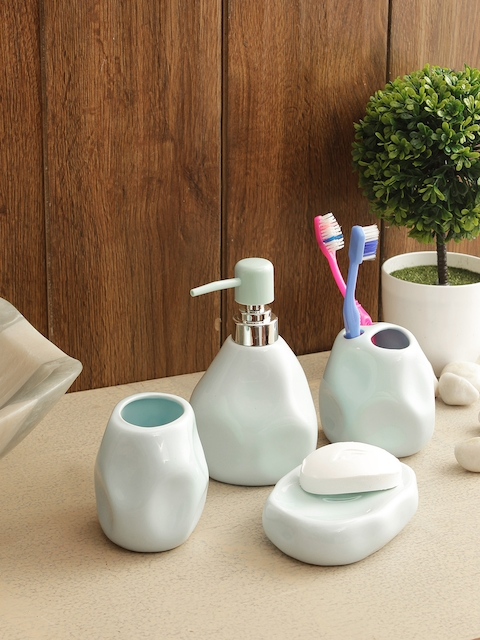 House of Accessories Set of 4 Blue Solid Bathroom Accessories