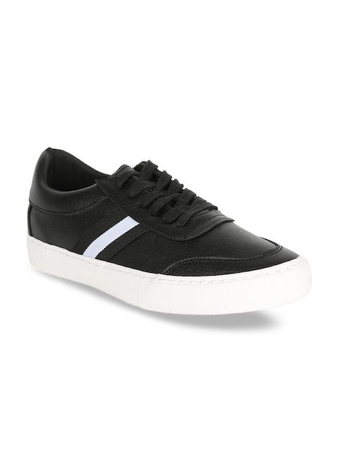 Peter England Men Black & White Striped Sneakers
