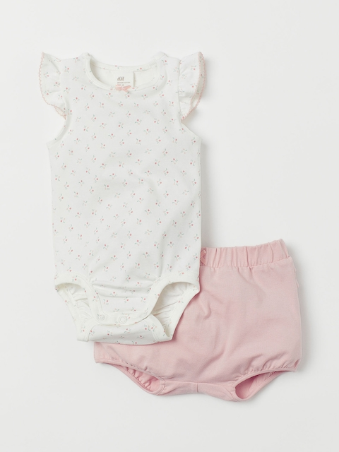 H&M Kids Pink & Off-White Printed Bodysuit and Shorts