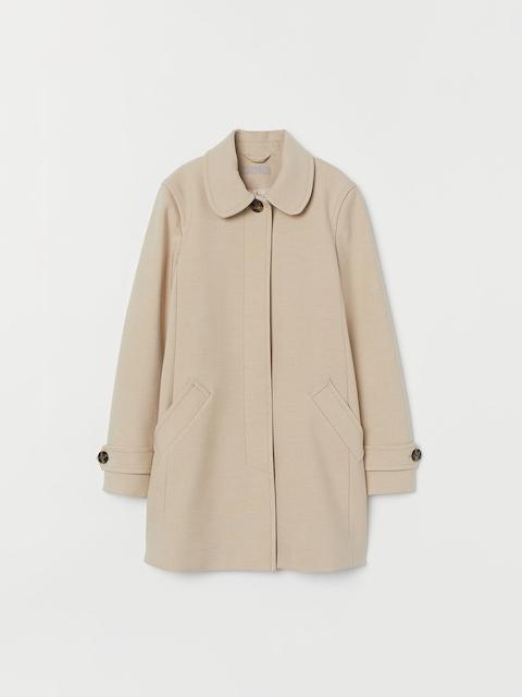 H&M Women White Solid Short Coat