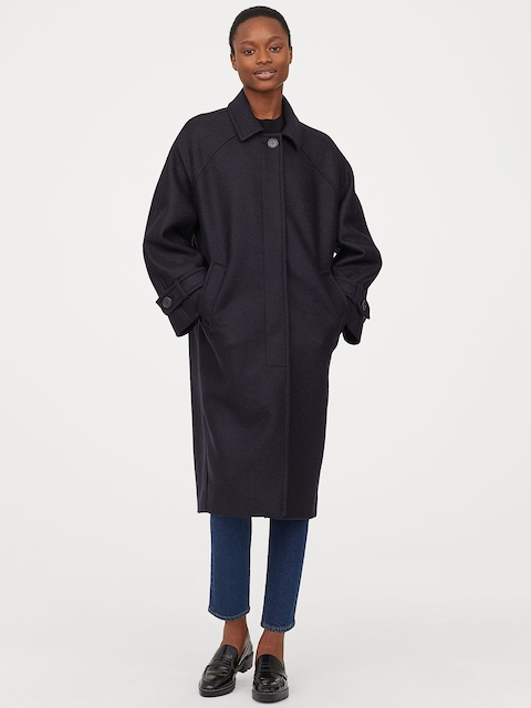H&M Women Blue Solid Wool Coat