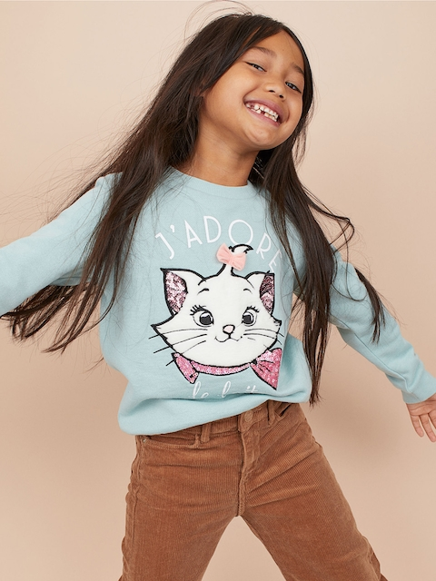 H&M Girls Turquoise Blue Sweatshirt with a Motif