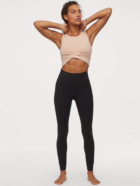 H&M Women Black Solid Shaping Tights High Waist