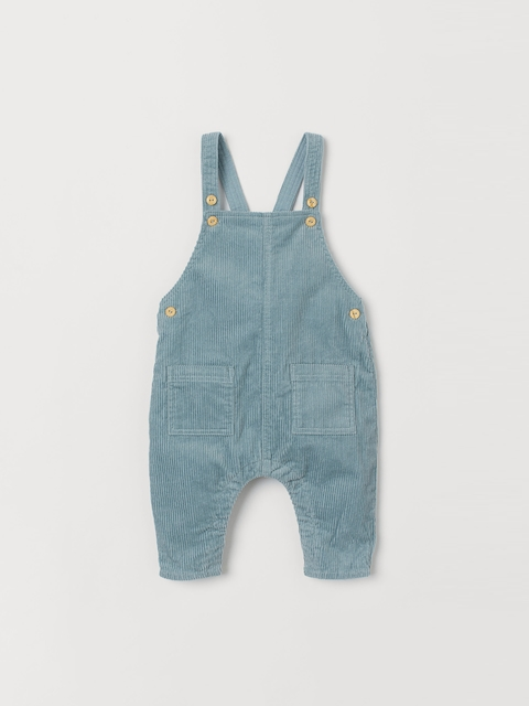H&M Kids Turquoise Blue Solid Corduroy Dungarees