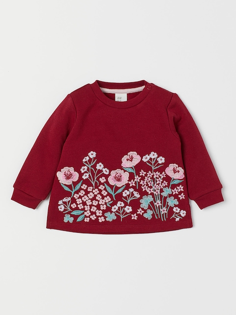 H&M Girls Red Sweatshirt with Embroidery