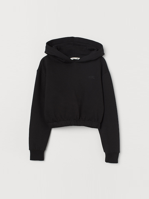 H&M Girls Black Solid Cropped Hooded Sweatshirt