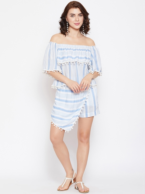The Kaftan Company Women White & Blue Printed Top with Skorts