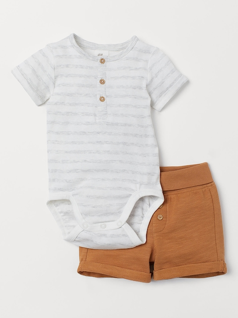 H&M Kids Beige & White Striped Bodysuit and Shorts