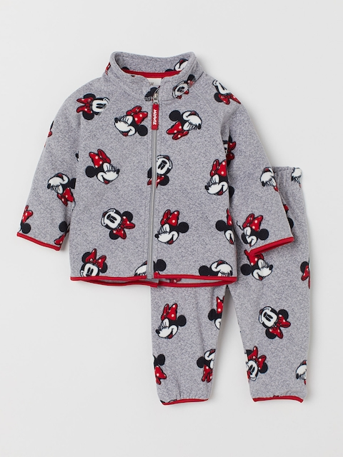 H&M Kids Grey & Black Printed Fleece Jacket and Trousers
