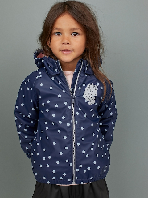 H&M Girls Navy Blue & Off-White Printed Lined Rain jacket