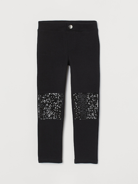 H&M Girls Black Embellished Jersey Treggings