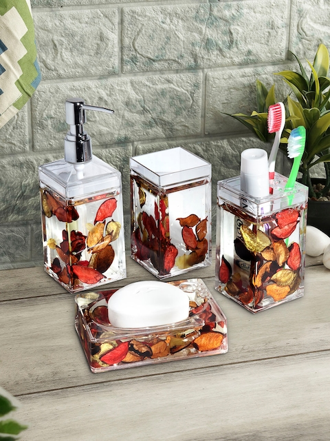 OBSESSIONS Set of 4 Red & Transparent Glass Bath Accessories Set