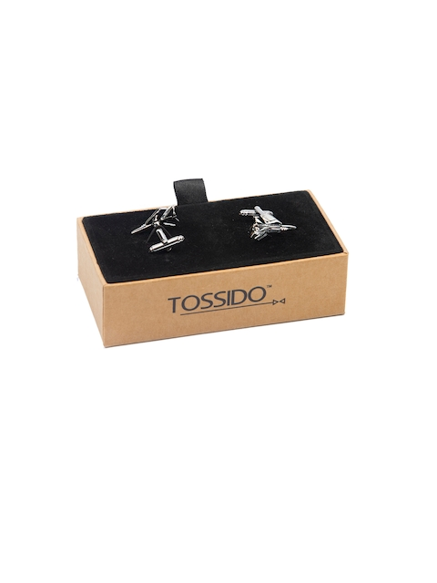 Tossido Silver-Toned Quirky Cufflinks