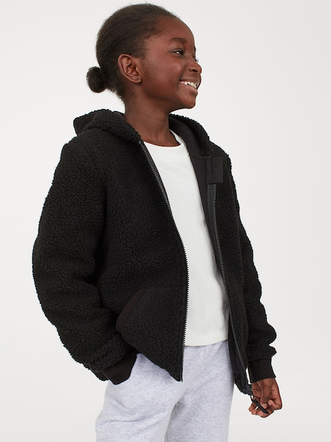 H&M Girls Black Solid Pile Hooded Jacket