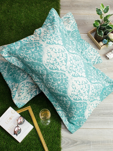 Soumya Set of 2 Green & White Self-Design 200TC Pillow Covers