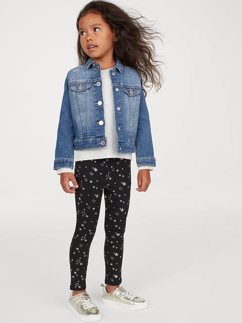 H&M Girls Black Printed Treggings