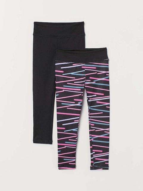 H&M Girls Black 2-Pack Sports Tights