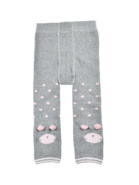 KIDOfash Girls Grey Solid Stockings