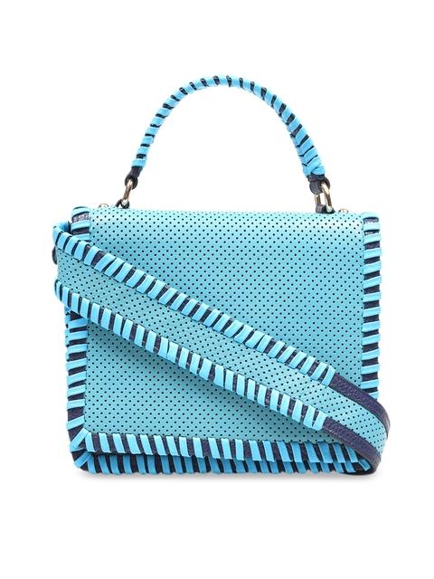Da Milano Blue Textured Leather Handheld Bag