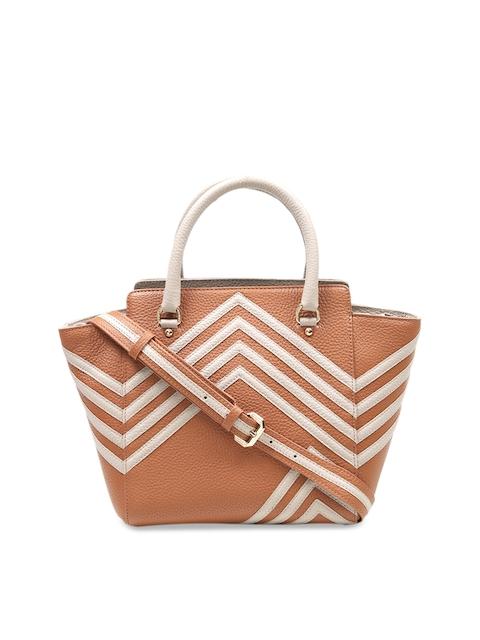Da Milano Tan Brown & Off-White Striped Leather Handheld Bag