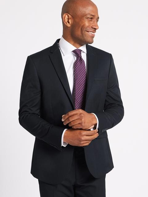Marks & Spencer Men Navy Blue Solid Slim Fit Single-Breasted Blazer