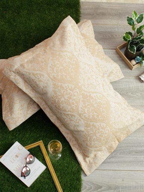 Soumya Set of 2 Beige Self-Design 200TC Pillow Covers