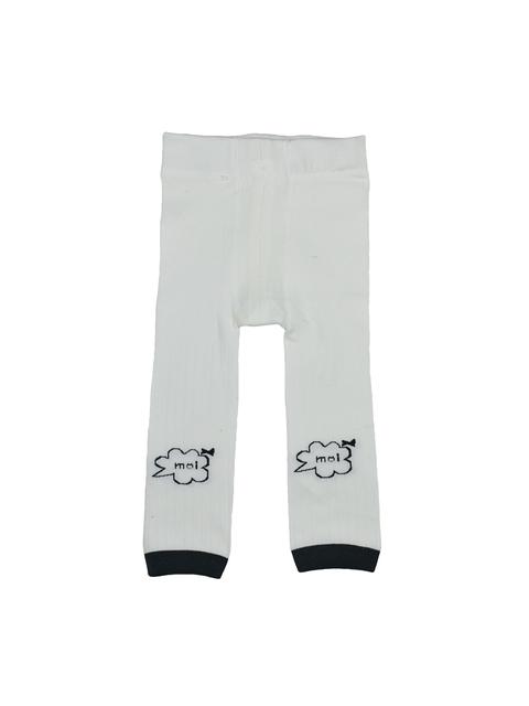KIDOfash Girls Off-White Solid Stockings