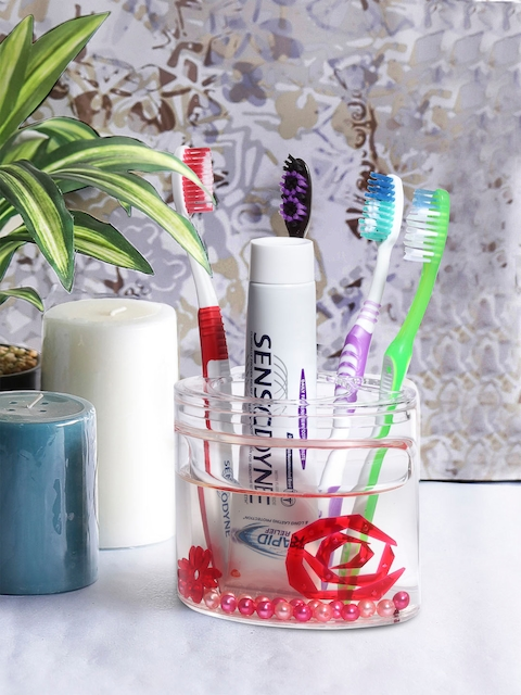 OBSESSIONS Transparent & Red Glass Toothbrush Holder