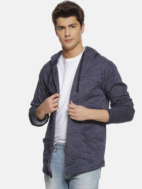 Campus Sutra Men Purple Solid Open Front Shrug