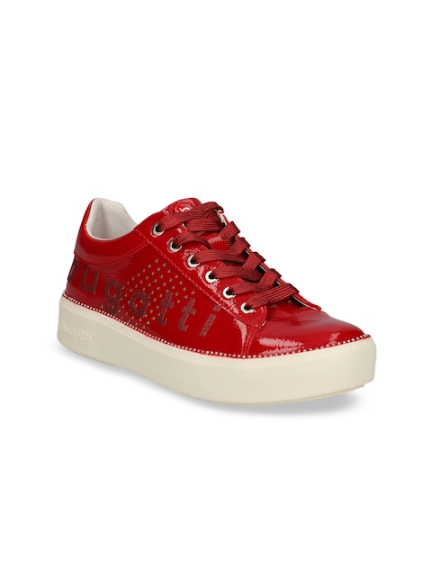 Bugatti Women Red Perforated Sneakers
