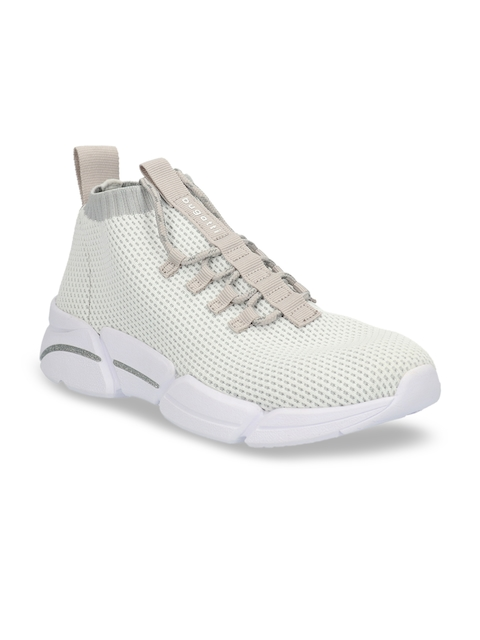 Bugatti Women White Woven Design Sneakers