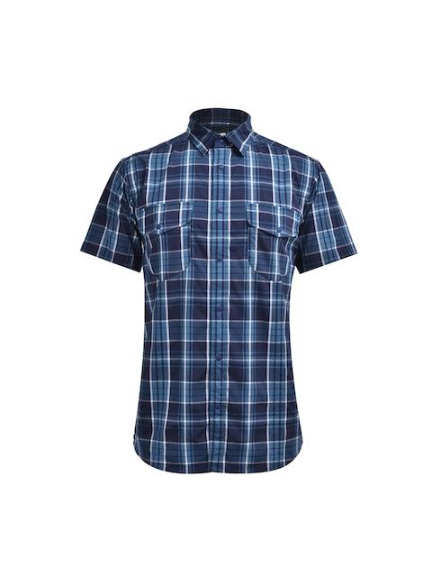 Karrimor Men Navy Blue Checked Polo Collar T-shirt