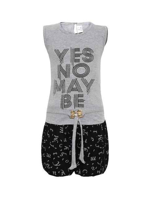 Aarika Girls Grey & Black Printed Top with Shorts
