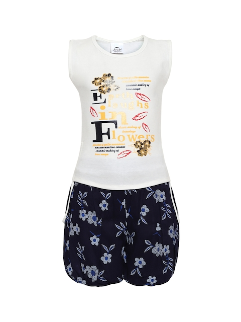 Aarika Girls Off-White & Navy Blue Printed Top with Shorts