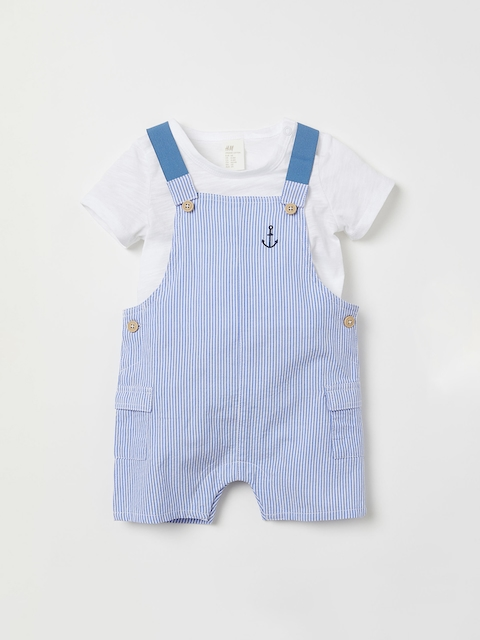 H&M Kids Blue & White T-shirt and Dungaree Shorts